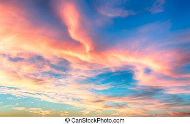 синий, небо, -, закат солнца, красный