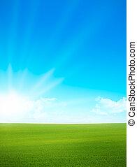 синий, небо, -, зеленый, поле, пейзаж