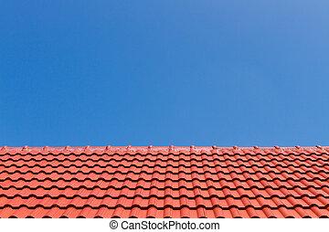 синий, небо, крыша, против, красный