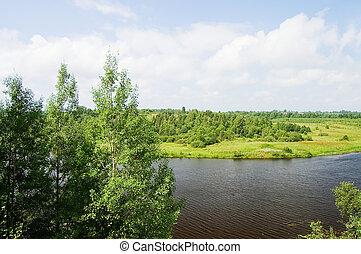 синий, небо, лето, река, пейзаж