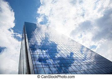 синий, небо, небоскреб, против