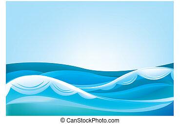 синий, небо, океан, waves