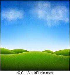 синий, небо, пейзаж