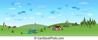 синий, небо, пейзаж, природа