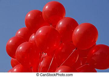синий, небо, против, воздух, balloons, красный