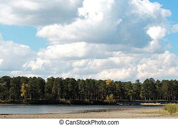 синий, небо, против, осень, река, банка