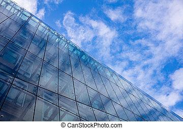 синий, небо, против, background., берлин, небоскреб, германия