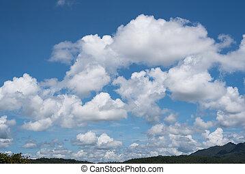 синий, небо, пушистый, clouds, белый