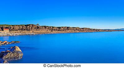 синий, небо, чисто, сосновый лес, rocks, океан, пляж, закат солнца