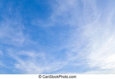синий, небо, чисто, clouds, белый