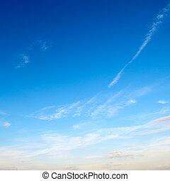 синий, небо, clouds, легкий