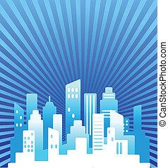 синий, недвижимость, задний план