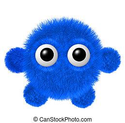 синий, немного, монстр, пушистый, пушистый, персонаж, arms, legs., большой, eyes.