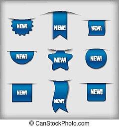 синий, новый, labels