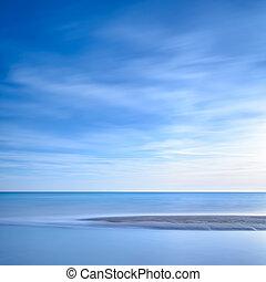 синий, океан, закат солнца, линия, пляж, сэнди