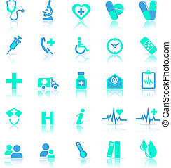 синий, отражать, забота, здоровье, icons