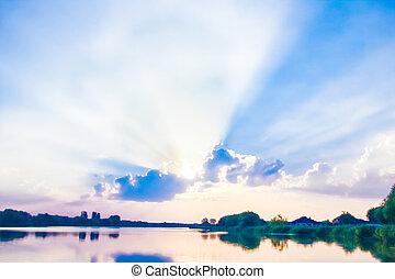 синий, отражение, закат солнца, задний план, небо