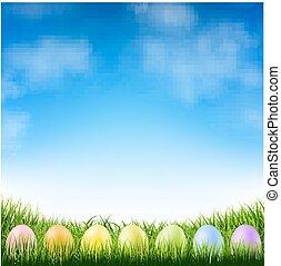 синий, пасха, eggs, небо