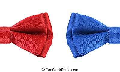 синий, половина, tie., красный, лук