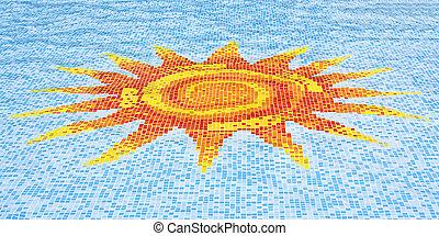 синий, пол, солнце, небо, против, мозаика, бассейн, плавание