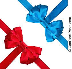 синий, праздничный, лук, задний план, белый, красный