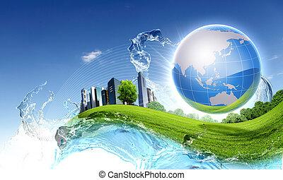 синий, природа, небо, против, планета, зеленый, чистый
