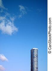 синий, пространство, образ, небо, против, гладкий, небоскреб, копия, архитектура