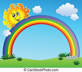 синий, радуга, небо, держа, солнце