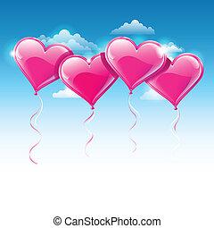 синий, сердце, фасонный, небо, на, иллюстрация, вектор, balloons