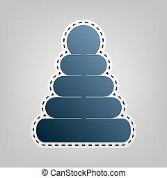 синий, серый, пирамида, illustration., значок, знак, background., резка, vector., вне, контур