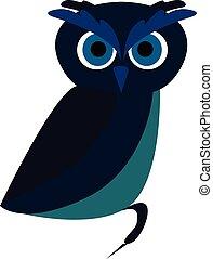 синий, сова, illustration., цвет, большой, вектор, eyes