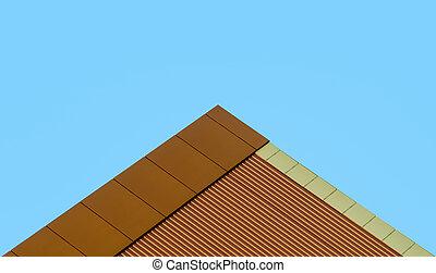синий, современное, здание, оранжевый, против, небо, стена
