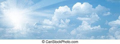 синий, солнце, абстрактные, backgrounds, яркий, skies