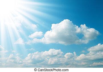 синий, солнце, небо