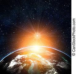 синий, солнце, поднимающийся, земля, пространство