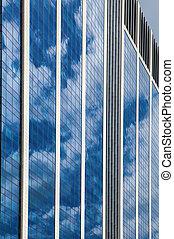 синий, стакан, небо, небоскреб, против