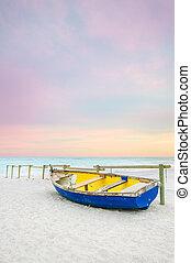 синий, старый, деревянный, желтый, закат солнца, белый, пляж, лодка