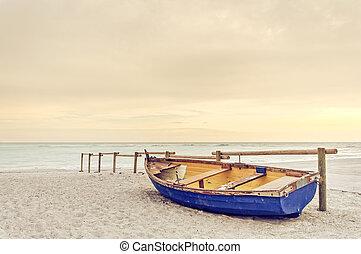 синий, старый, деревянный, желтый, тепло, закат солнца, белый, пляж, лодка