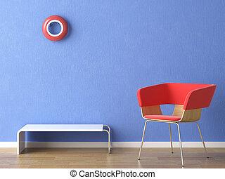 синий, стена, стул, красный