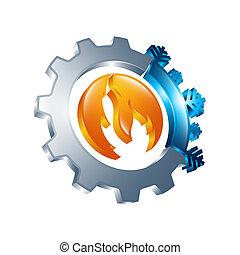 синий, стиль, холодно, температура, солнце, sign., 3d, снежинка, symbols, горячий, parts, icon., линия, баланс, круг, круглый, красный