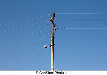 синий, столб, небо, электрический, против
