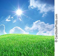 синий, трава, небо, глубоко