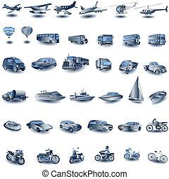 синий, транспорт, icons