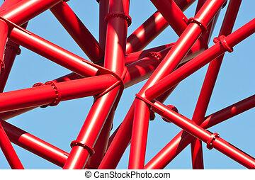 синий, трубопровод, небо, красный, против