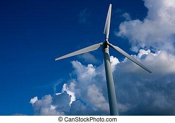 синий, турбина, ветер, против, sky.