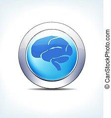 синий, фармацевтическая, &, кнопка, головной мозг, healthcare, значок, бледный, символ
