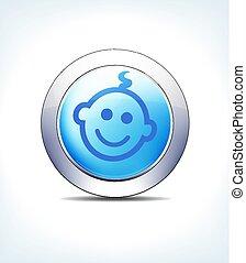 синий, фармацевтическая, &, ребенок, кнопка, healthcare, значок, бледный, символ