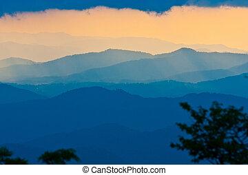 синий, хребет, закат солнца, север, автострада, каролина
