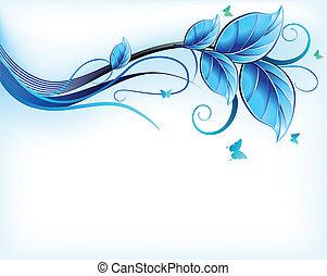 синий, цветочный, вектор, background.