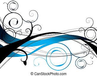 синий, цветочный, водоворот